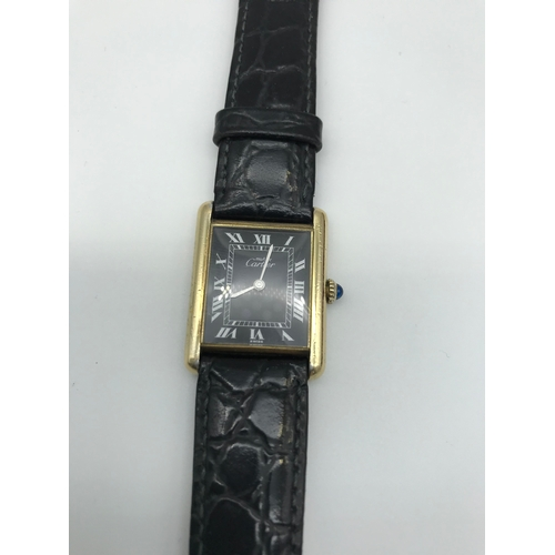 1 - A Must De Cartier Argent 925 silver ladies watch with gold plate overlay, a hand winding movement, i...