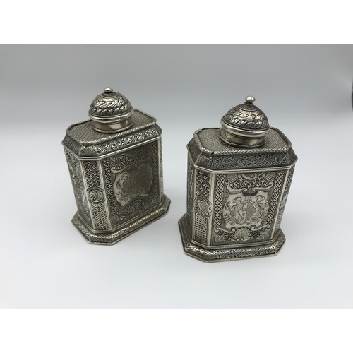 44 - A Pair of Rare Georgian London silver tea caddies, Dated 1834, Makers Thomas Tookey, with highly int...