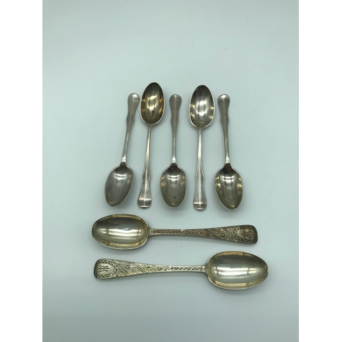 48 - A Set of 5 London silver tea spoons by Wilson & Sharp dated 1931, together with two ornate London si...