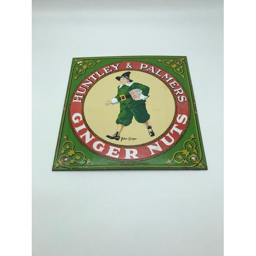 5 - Vintage Huntley & Palmers Ginger Nuts Enamel sign. Measures 22x21.5cm...