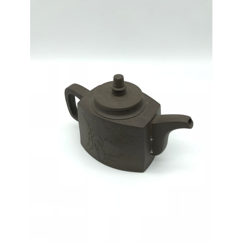 11 - Chinese Clay saki tea pot with signature to the back and base....