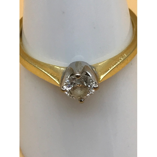 1 - 18ct gold ladies ring set with a single diamond .35 carat. Size P. Weighs 2.81grams....