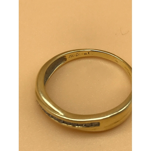 2 - 18ct gold ladies ring set with diamonds. Size P. 2.63grams...