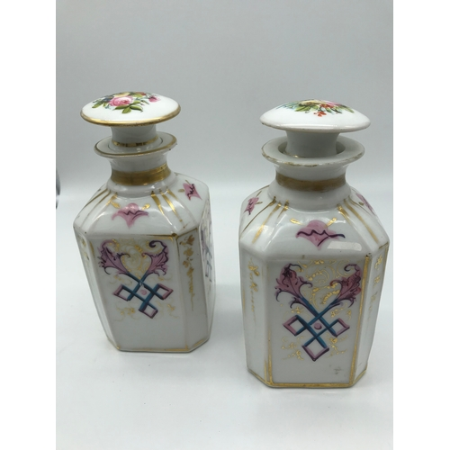 17 - A Pair of hand painted Meissen style decanters...