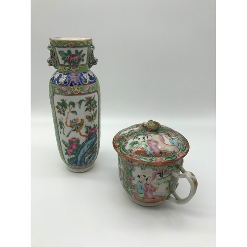 19 - Two pieces of 19th century Chinese Famille rose. A Vase and a lidded drinking cup with two handles....