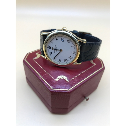 6 - A Raymond Weil Geneve Gents wrist watch, Gold plated casing, No5567, Dated 1990-1999....