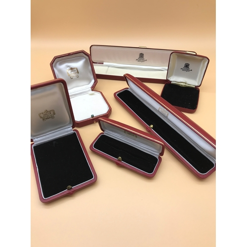 9 - A lot of 4 Vintage Cartier jewellery boxes and 2 Hamilton & Inches boxes....