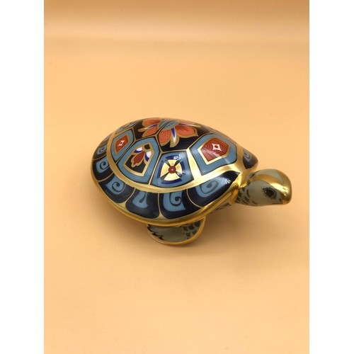 14 - Royal Crown Derby Terrapin paperweight with gold button base....
