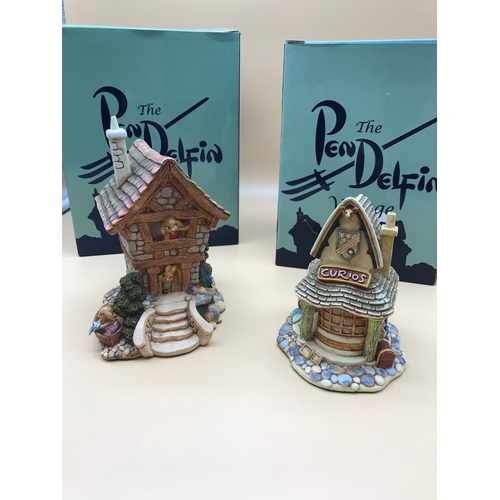 30 - 2 Pendelfin village scene figurines named 'The Large House' and 'The Curiosity Shop'. Complete with ...