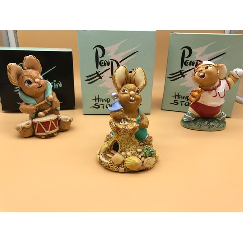 35 - A lot of 3 Pendelfin figurines named 'Biff', 'Pitch' and 'Victor'. Complete with original boxes...