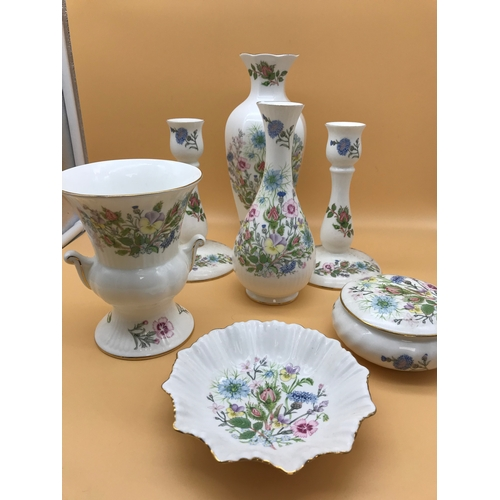 37 - A collection of Aynsley 'Wild Tudor' porcelain...
