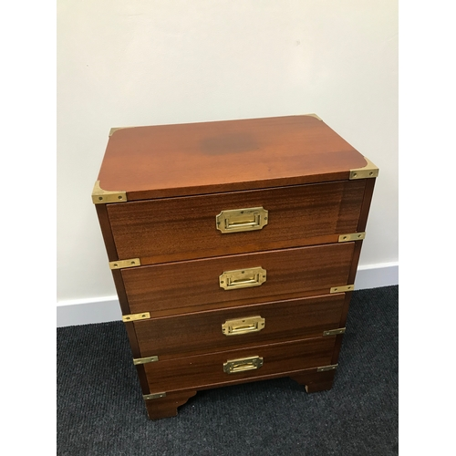 20B - A Reproduction campaign chest of drawers. Fitted with brass fitments. Measures 61.5X46X30 cm...