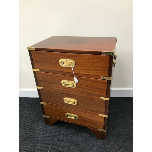 20C - A Reproduction campaign chest of drawers. Fitted with brass fitments. Measures 61.5X46X30 cm...