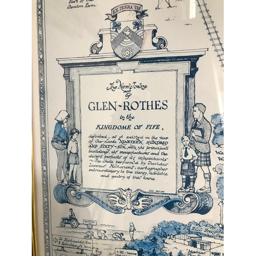 30B - The new town of Glenrothes in the Kingdome of Fife large pictorial map. Measures 100x70cm inc frame....