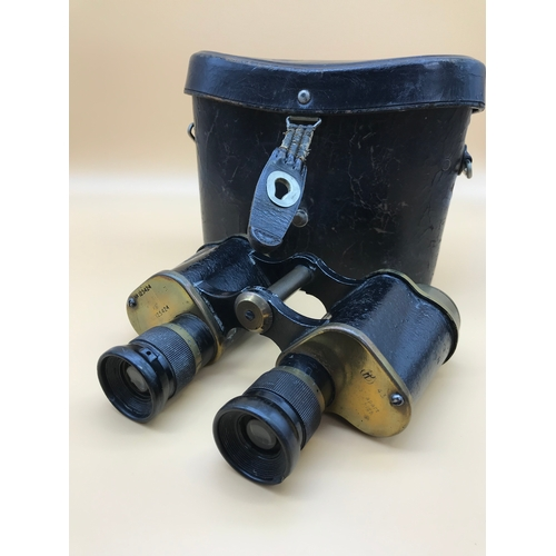 7 - A Pair of WW2 Military Binoculars, Prism, No2 MkIII. With carry case....