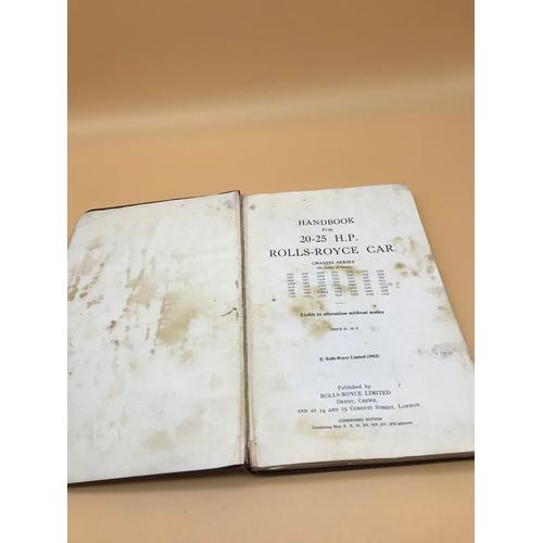 10 - Handbook for 20-25 H.P Rolls Royce car Condensed Edition....