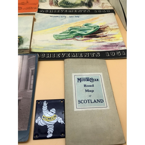 13 - A Lot of vintage Castrol Achievement magazines, Original motorcycle road map of Scotland. Enamel mic...