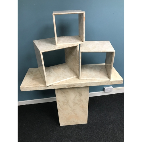 40A - Marble console table together with 3 matching marble cube displays....