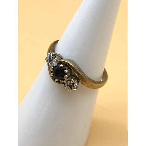 25 - A 9ct gold ladies diamond and sapphire set ring. Size I, weighs 2.04g...