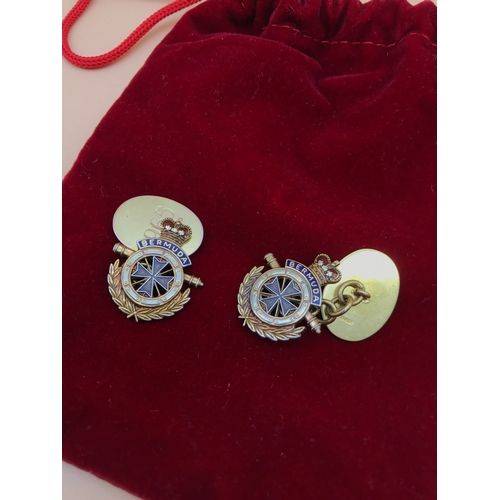 29 - A Pair of 9ct gold Bermuda Regiment cufflinks, Made by Mappin & Webb, Engraved with date 1965. Weigh...
