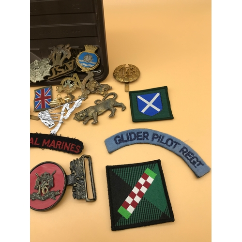 35 - A Lot of Military mixed cap badges, pin badges and patches...