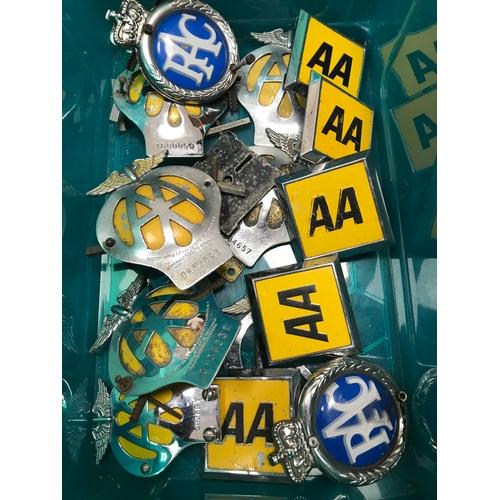 1 - A Box full of Vintage AA & RAC Car badges....