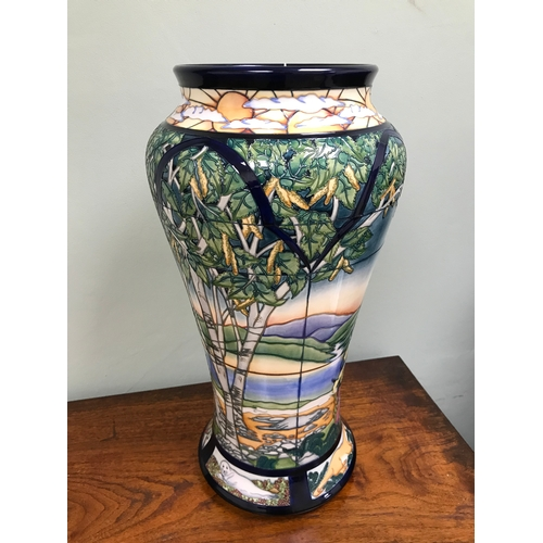 66 - Large Moorcroft parramore 2002 vase, signed by R J Bishop. Limited edition.  Stands at 52cm in heigh...