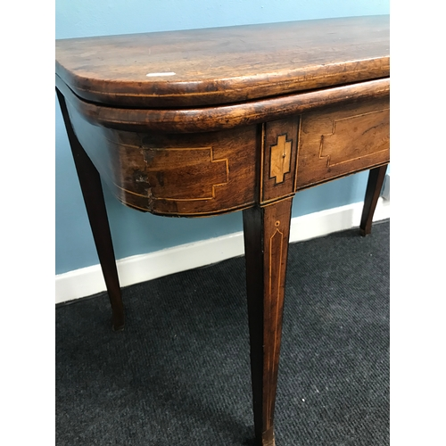 15A - A late Georgian D-End card table. Styled with Inlays and spade Supporting legs....