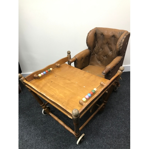 20C - A Victorian child's high chair, which folds into a desk and chair. Styled with original chesterfield...