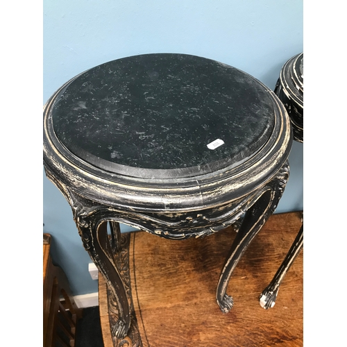 35A - A Pair of Antique Regency style pedestal tables both fitted with granite tops. One is slightly bigge...