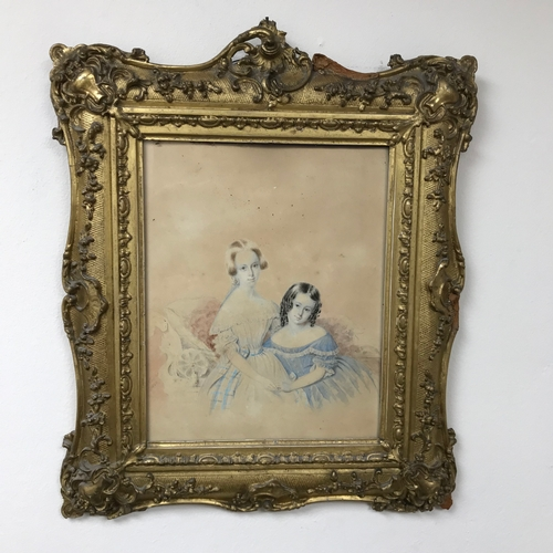 13 - A Victorian Watercolour portrait of Mother & Daughter sitting, by Artist Noel Carter dated 1842. Fit...