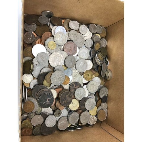 15 - A Box filled with mixed world coins, Includes British, German & Swiss....