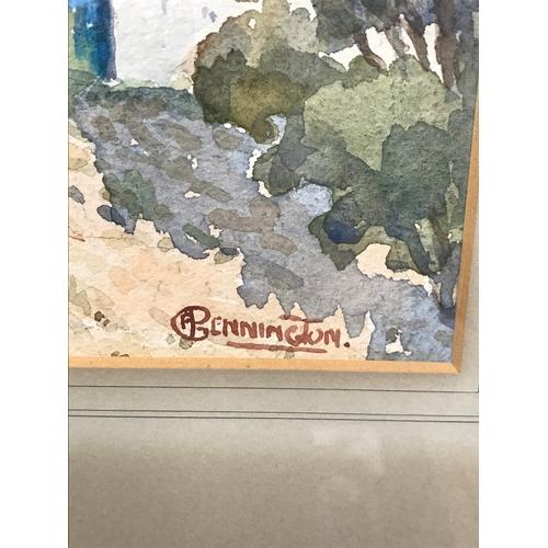19 - An Antique watercolour depicting outer city district. Signed C F Pennington. Watercolour measures 37...