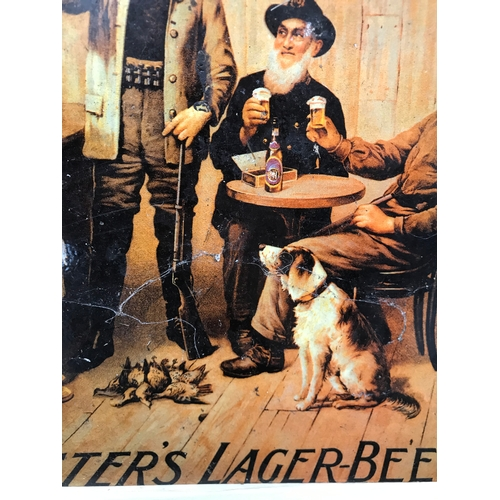 21 - A Rare vintage double sided Foster's Larger Beer advertising sign. Roached in areas. Measures 40x30c...