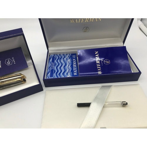 23 - A pair of Waterman Paris pens with cartridge set. Come with original boxes and manuals...