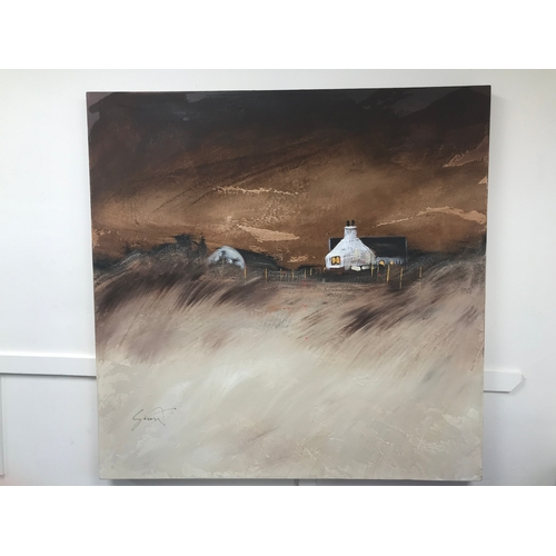25 - A large oil on canvas titled 'Highland Crofts', unknown artist. Measuring 90x92cm approx...
