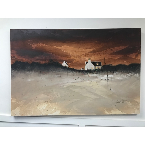 26 - A large oil on canvas depicting a croft setting, unknown artist. Measuring 61x91cm approx...