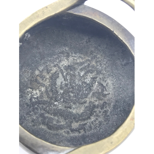 27 - An old Small Chinese bronze censor pot, with 6 figure signature to the base and dragon design to the...