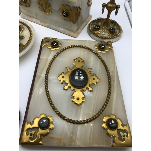 87 - A Victorian George Betjemann & Sons 5 piece ornate  Onyx and gilt brass desk set. Styled to each pie...