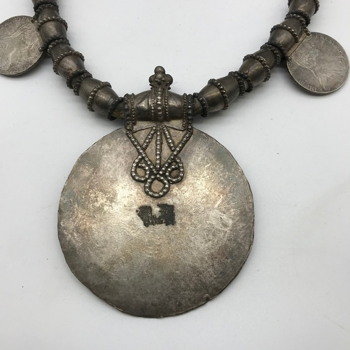 148 - Early 20th century Omani Thaler silver Necklace. The six coins attached are Maria Theresa Thalers da...