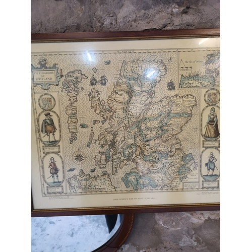 275A - Two vintage framed map prints of Scotland....