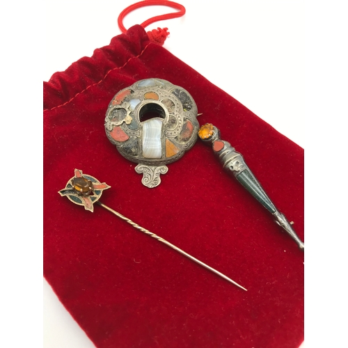 2 - A Lot of 3 Antique silver and gold agate stone brooches and pin. Sword brooch is stamped Sterling to...