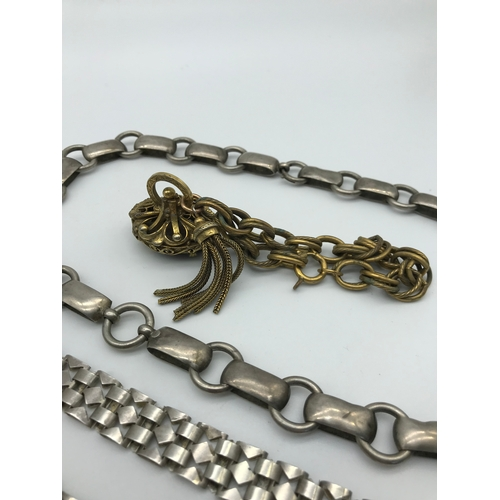 6 - Two Silver chunky chains together with gilt metal German made bracelet with large fob set with purpl...