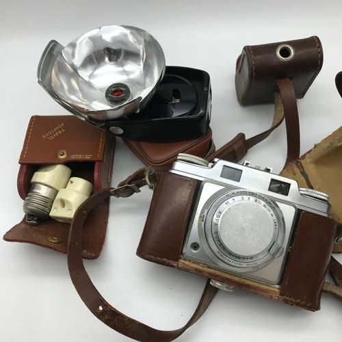 30 - Agfa super Silette camera, flash and vintage travel adaptors....