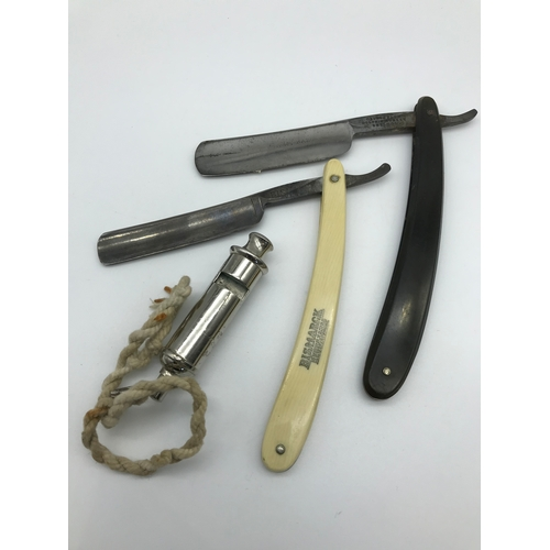 12 - Antique Bismarck Solinger Germany cut throat razor, George Plum Army cut throat razor and The Acme S...