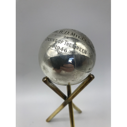 19 - A Glasgow silver Bowling club trophy sat upon a gilt metal stand. Engraved Grahamston Bowling Club P...