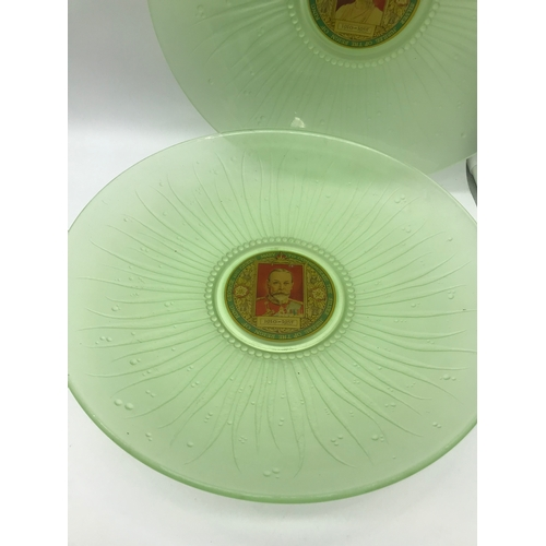 32 - A Pair of Vintage Uranium green glass commemorative King George and Queen Mary decorative dishes. Ro...