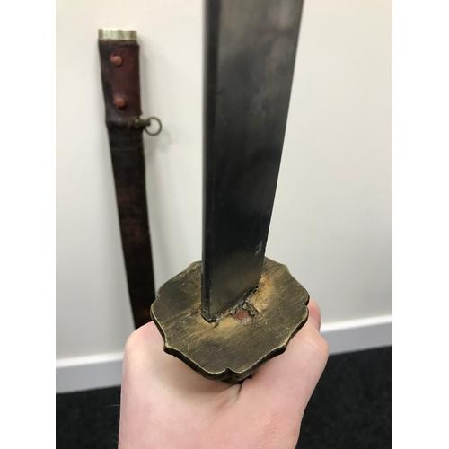 33 - A Mid 20th century Japanese officers Samurai sword. Slight curve to the blade, Bronze tsuba, String ...