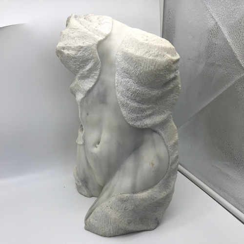 37 - A Heavy marble semi nude lady body sculpture. Signed with a Chinese signature and dated 1999. Measur...
