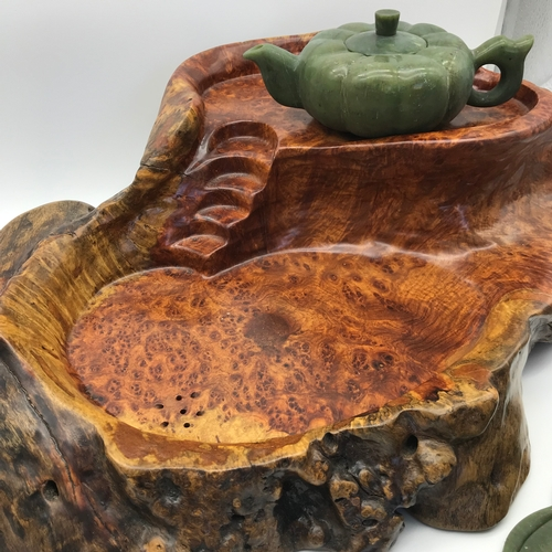 39 - A Beautiful piece of Burr walnut made into a Chinese two tier tea slab. Together with a Jade pumpkin...